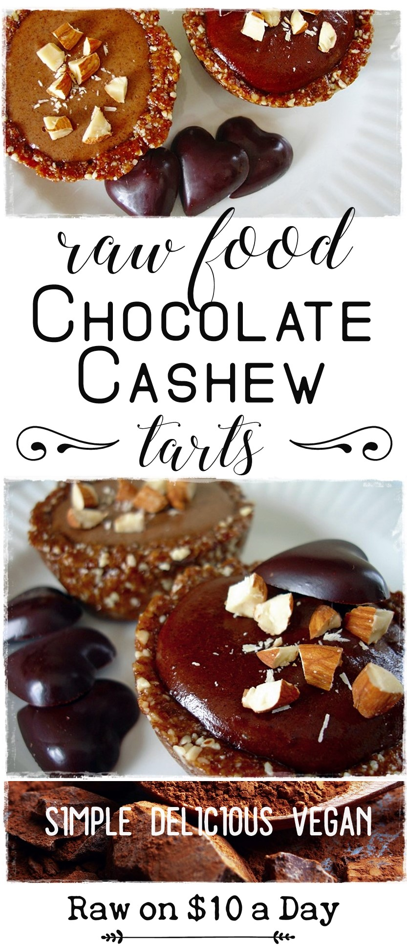 Chocolate Cashew Tart Raw on 10 Easy Raw Vegan Dessert #rawfood #rawdessert #rawchocolate #rawvegan #healthydessert #healthychocolate PIN IT