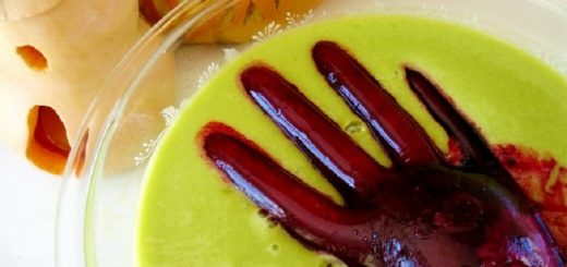 Vegan Halloween Recipe Raw Food Treat Witches Brew Smoothie with a Monster Hand Scary Delicious and Frighteningly Healthy from Raw on 10