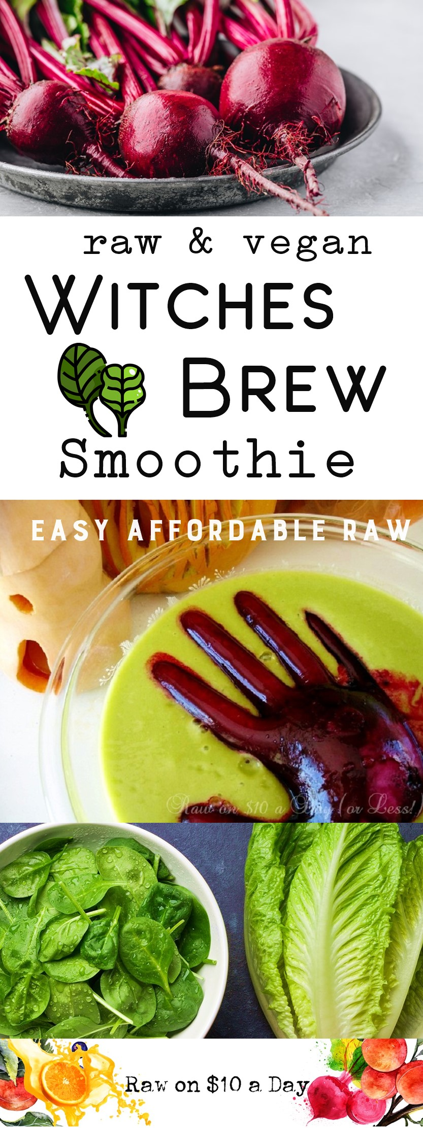 Vegan Halloween Recipe Raw Food Treat Witches Brew Smoothie with a Monster Hand Scary Delicious and Frighteningly Healthy from Raw on 10 PIN IT