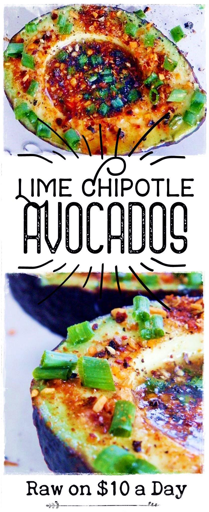 Lime Chipotle Avocados Easy Healthy Raw Food Recipe from Rawon10 #rawfood #easyrawfood #rawfoodrecipe #spicy #avocados PIN IT