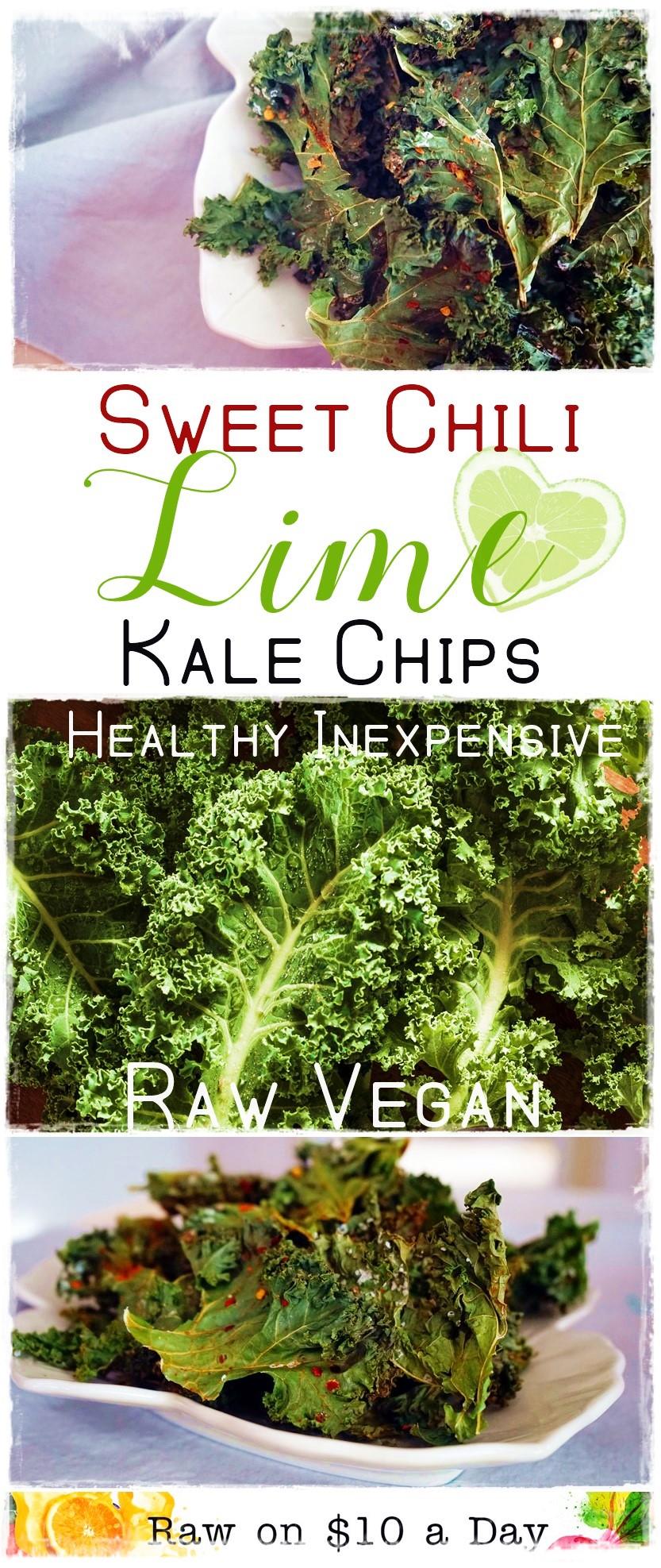 Sweet Chili Lime Kale Chips Oil Free Raw Vegan Healthy Raw on 10 #vegnrecipe #rawkalechips #rawfood #oilfreevegan #chililimekalechips #dehydratorkalechips PIN IT