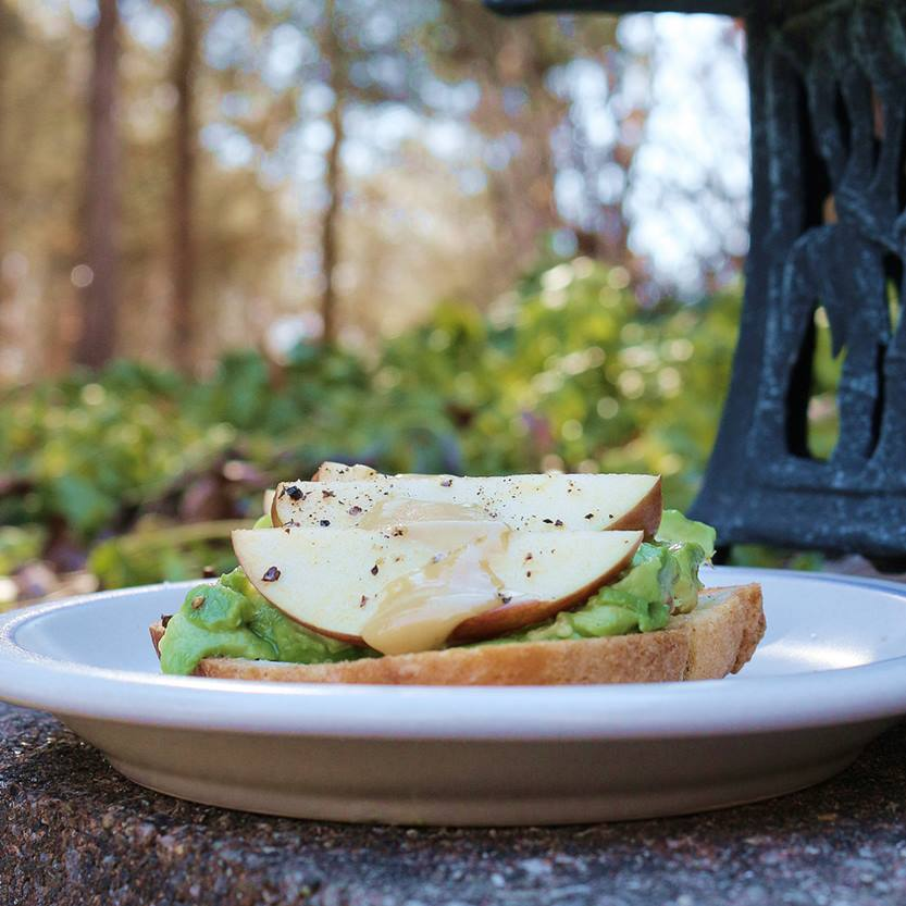 Avocado Apple Toast with Maple Cream Syrup Vegan Plant-Based Recipe planted365.com